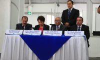 Magistrados del TSE, en conferencia de prensa a las 16 horas. (Foto Prensa Libre: Carlos Hernández)