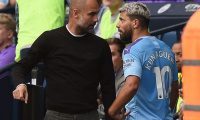 Manchester City's Argentinian striker Sergio Aguero (R) talks with Manchester City's Spanish manager Pep Guardiola as he is substitued off during the English Premier League football match between Manchester City and Tottenham Hotspur at the Etihad Stadium in Manchester, north west England, on August 17, 2019. (Photo by Oli SCARFF / AFP) / RESTRICTED TO EDITORIAL USE. No use with unauthorized audio, video, data, fixture lists, club/league logos or 'live' services. Online in-match use limited to 120 images. An additional 40 images may be used in extra time. No video emulation. Social media in-match use limited to 120 images. An additional 40 images may be used in extra time. No use in betting publications, games or single club/league/player publications. /