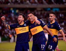 Los jugadores de Boca Juniors esperan no tener problemas en el estadio de River Plate. (Foto Prensa Libre: AFP)