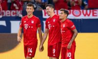 Bayern Munich's Polish forward Robert Lewandowski (C) celebrate scoring his third goal with his teammates Bayern Munich's Croatian midfielder Ivan Perisic (L) and Bayern Munich's Brazilian midfielder Philippe Coutinho during the German first division Bundesliga football match FC Schalke 04 FC Bayern Munich in Gelsenkirchen, western Germany on August 24, 2019. (Photo by Guido Kirchner / dpa / AFP) / Germany OUT / DFL REGULATIONS PROHIBIT ANY USE OF PHOTOGRAPHS AS IMAGE SEQUENCES AND/OR QUASI-VIDEO