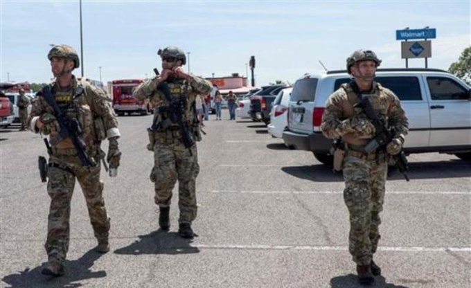 Autoridades resguardan el lugar donde se registró la balacera en Luisiana. (Foto Prensa Libre: Tomada de @OlaNoticias).