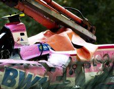 Así quedó el automóvil del piloto Antoine Hubert, después del accidente. (Foto Prensa Libre: AFP)