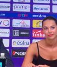 Alessia Enriquez es el nombre de la traductora que estuvo presente en la presentación de Franck Ribery como nuevo jugador de la Fiorentina. (Foto Prensa Libre: @Juezcentral)