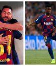 Lionel Messi y Ansu Fati se abrazan después del triunfo culé frente al Betis. (Foto Prensa Libre: Instagram y AFP)