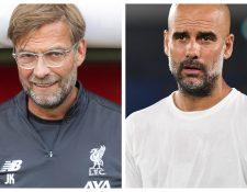 Klopp y Guardiola, son de los mejores técnicos que hay en la actualidad en Inglaterra. (Foto Prensa Libre: AFP y EFE)