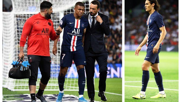 Kylian Mbappé y Edinson Cavani no pudieron terminar el partido en el Parque de Los Príncipes. (Foto Prensa Libre: EFE)