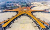 This photo taken on June 28, 2019 shows the terminal of the new Beijing Daxing International Airport. - Beijing is set to open an eye-catching multi-billion dollar airport resembling a massive shining starfish, to accommodate soaring air traffic in China and celebrate the Communist government's 70th anniversary in power. (Photo by STR / AFP) / China OUT / To go with China-Aviation, Focus by Patrick Baert