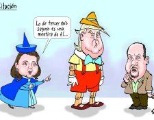 Personajes: Sandra Jovel, Donald Trump y Orlando Blanco.