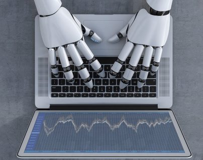 3D Rendering, Robot and laptop, stock exchange trading