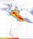 En color rojo el área que cubre el incendio en el Amazonas. (Foto Prensa Libre: Foto Twitter @WMO World Meteorological Organization)