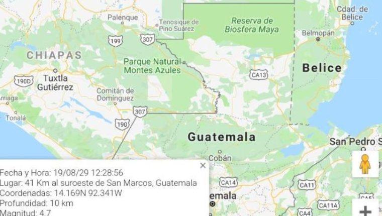 Mapa muestra epicentro del temblor de este jueves 29 de agosto. (Foto Prensa Libre: Conred).