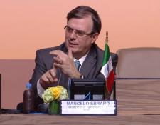 El secretario de Relaciones Exteriores en la Conferencia Intergubernamental para el Pacto Mundial sobre Migración de la ONU, en Marruecos. Foto: Cortesía ONU.