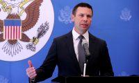 Kevin McAleenan, Secretario Interino de Seguridad de Estados Unidos, en conferencia de prensa donde se refiere a la visita que hizo a Guatemala y sobre el acuerdo firmado que se refiere a Guatemala como tercer pa's seguro.    Fotograf'a: Erick Avila.                       01/08/2019