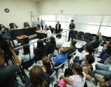 Audiencia por la muerte del exdetective que adelantó pesquisas del caso que se investigaba por la muerte de Myrna Mack, en la que cuatro exdetectives fueron sentenciados a 35 y 40 años de cárcel  (Foto Prensa Libre: Esbin García)