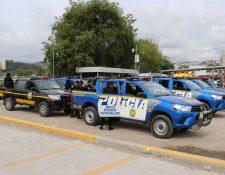 Con tres galones de combustible diarios tendrán que circular las unidades de la PNC en Quiché. (Foto Prensa Libre: Héctor Cordero)