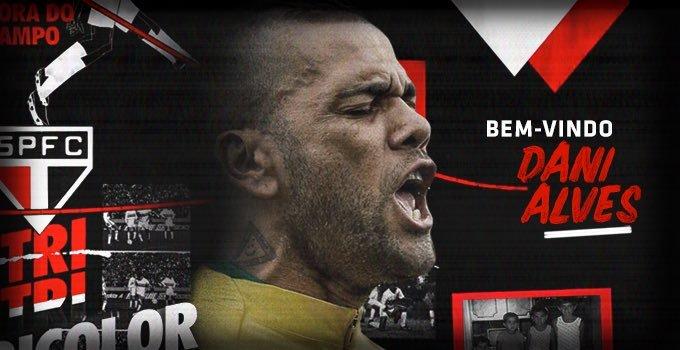 Dani Alves comenzará una aventura en el futbol brasileño. (Foto Prensa Libre: Twitter @SaoPauloFC_esp)