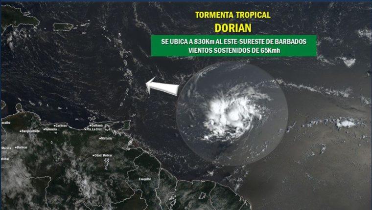 Desplazamiento de la tormenta tropical Dorian. (Foto Prensa Libre: Cortesía)