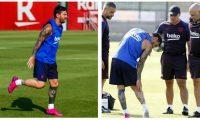 Messi se retiró del entrenamiento por unas molestias en la pierna derecha. (Foto Prensa Libre: Tomada de fcbarcelona.es)