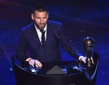 Lionel Messi gana el premio The Best de la Fifa al mejor futbolista del 2019. (Foto Prensa Libre: AFP)