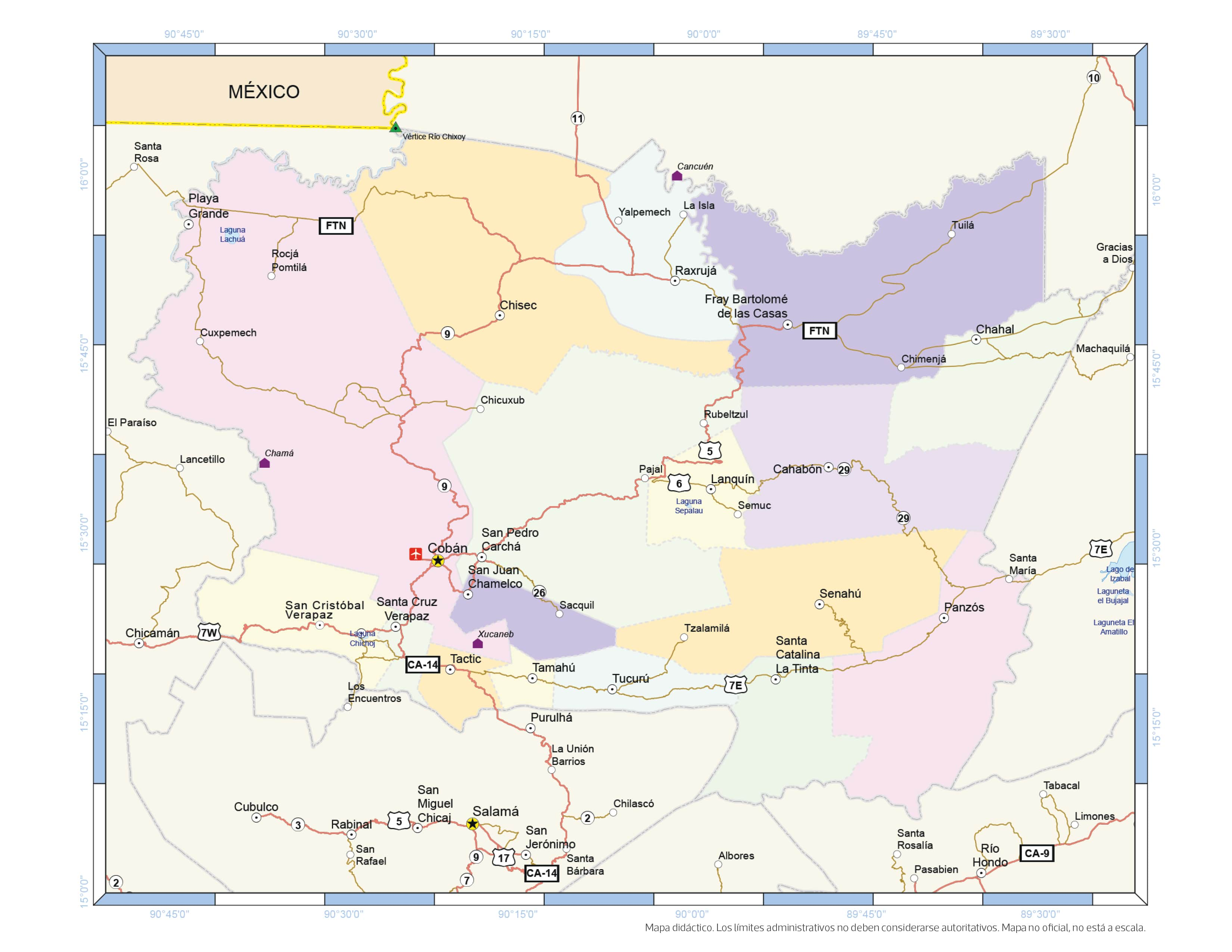 Mapa del Departamento de Alta Verapaz.