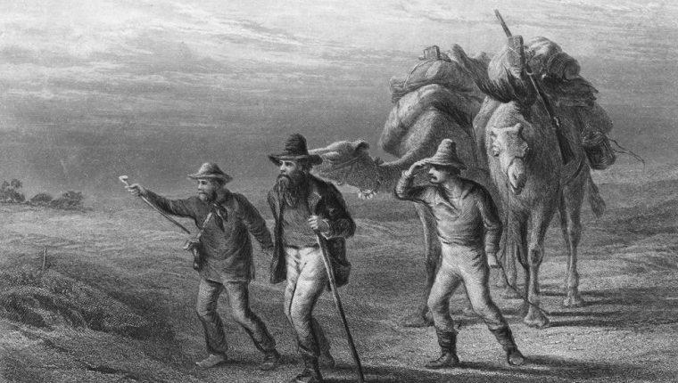 Robert Burke, William Wills y John King llegando a Cooper's Creek en 1861.