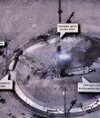 Esta imagen de alta resolución compartida por Donald Trump de una supuesta plataforma de lanzamiento espacial iraní causó gran polémica al poder estar destapando información militar confidencial de EE.UU.