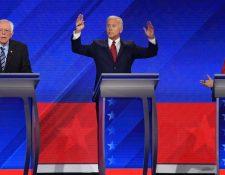 En esta ronda de debates, participaron tres de los precandidatos html5-dom-document-internal-entity1-quot-endestrellahtml5-dom-document-internal-entity1-quot-end: Bernie Sanders (izquierda), el exvicepresidente Joe Biden (centro) y Elizabeth Warren.
