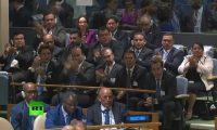 Funcionarios guatemaltecos aplauden a Jimmy Morales durante el discurso ante la 74 Asamblea de la ONU. (Foto Prensa Libre: Hemeroteca PL)