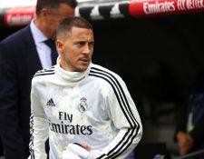 El delantero belga del Real Madrid Eden Hazard tiene una tarea pendiente con el equipo y el derbi de Madrid será determinante. (Foto Prensa Libre: EFE)