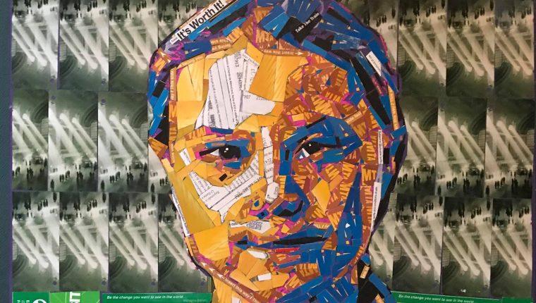Este retrato de Greta Thunberg fue hecho por el artista guatemalteco Juan Carlos Pinto. (Foto Prensa Libre)