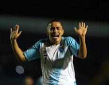 Así fue la particular celebración de Marvin Ceballos después de anotar un golazo de tiro libre en el partido Guatemala Vs Anguila. (Foto Prensa Libre: Francisco Sánchez)
