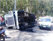 Lugar del accidente en el kilómetro 21 de la ruta de Bárcenas, Villa Nueva, al Pacífico. (Foto: Dalia Santos).