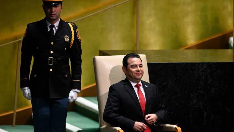 Jimmy Morales presentó su último discurso ante la Asamblea General de las Naciones Unidas este 25 de septiembre de 2019. (Foto Prensa Libre: AFP)