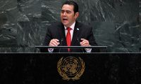 President of Guatemala Jimmy Morales speaks at the 74th Session of the General Assembly at the United Nations headquarters on September 25, 2019 in New York. (Photo by Johannes EISELE / AFP)