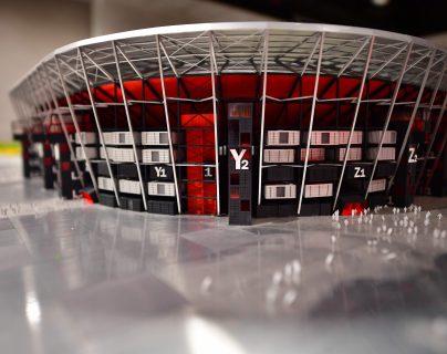 Maqueta del estadio  Ras Abu Aboud que servirá para el Mundial de la Fifa   Qatar 2022. (Foto Prensa Libre: EFE)