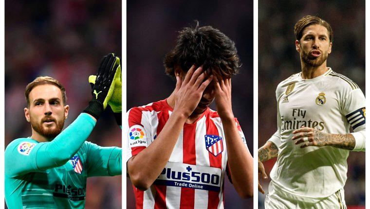 Oblak, Joao y Ramos fueron protagonistas del derbi, por diferentes motivos. (Foto Prensa Libre: AFP y EFE)