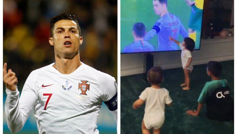 Cristiano Ronaldo festejó cuatro goles y sus hijos lo vieron con emoción en la televisión. (Foto Prensa Libre: EFE e Instagram)