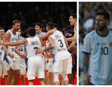 La Selección de Argentina de baloncesto celebró a lo grande. (Foto Prensa Libre: EFE e Instagram)