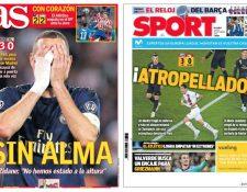 Estas son algunas de las portadas de los medios españoles, tras la derrota del Real Madrid en París. (Foto Prensa Libre: Twitter)