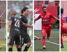 Pedro Altán, Agustín Herrera, Wilber Pérez y Edi Danilo Guerra, se lucieron con dobletes en la fecha 9. (Foto Prensa Libre: Norvin Mendoza y Raúl Juárez)