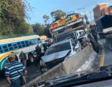 Colisión fue en el kilómetro 8.5 de la carretera a El Salvador. (Foto Prensa Libre: Tomada de Noticias Villa Hermosa)