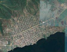 Imagen satelital de El Estor, Izabal. (Foto Prensa Libre: Google)