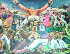 Mural conmemorativo de la revolución de octubre de 1944. La obra fue pintada en 1952 y está ubicada en el Congreso de la República de Guatemala. Pintado por el artista guatemalteco, Víctor Aragón. (Foto Prensa Libre: Hemeroteca PL).