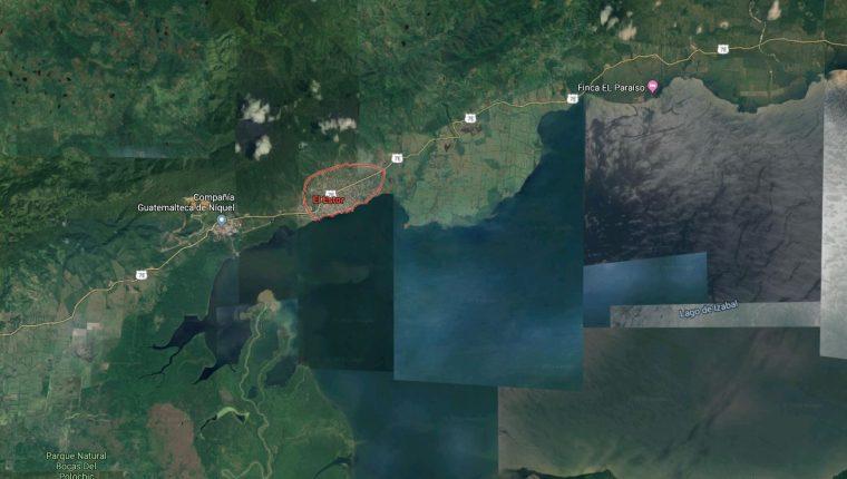 Congreso pide declarar estado de Sitio en Izabal, principalmente donde se reportó el enfrentamiento cerca de El Estor. (Foto Prensa Libre Google Maps)