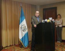 El presidente electo, Alejandro Giammattei informa sobre proyectos que se pretenden desarrollar junto a Panamá y Colombia. (Foto Prensa Libre: Andrea Orozco).