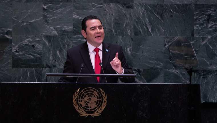 Jimmy Morales se dirige a la 74 Asamblea de la ONU. (Foto Prensa Libre: AFP)