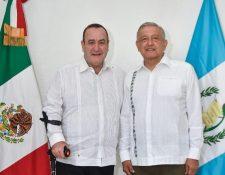 El presidente electo, Alejandro Giammattei se reunió con el presidente mexicano Andrés Manuel López Obrador.(Foto Prensa Libre: Secretaría de Relaciones Exteriores de México)