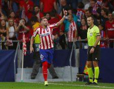 El centrocampista mexicano del Atlético de Madrid Héctor Herrera celebra tras marcar el segundo gol contra la Juventus. (Foto Prensa Libre: EFE)