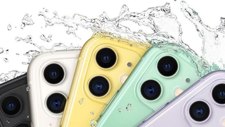 El iPhone 11 es resistente al agua hasta por 30 minutos a una profundidad máxima de 2 metros, el doble que el iPhone XR. (Foto Prensa Libre: apple.com)
