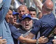 Maradona celebra con sus asistentes después del empate parcial de Gimnasia. (Foto Prensa Libre: AFP)